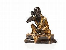 Partly Gilt Bronze of the Seated Yogi Milarepa, Tibet, 20th C