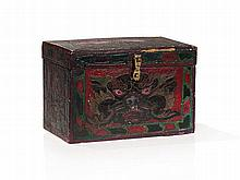 Hand Painted Wooden Casket with Brass Fittings, 19th / 20th C