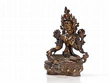 Green Tara of Partly Gilt Bronze with Gemstones, 20th C