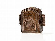 Kalachakra Gau Amulet Box of Copper, Tibet, 19th Century
