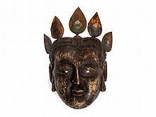 Wooden Hand-Painted Bodhisattva Cham Dance Mask, Tibet, 1900