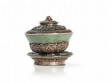 Noble Three Part Silver Jade Tea Bowl, Tibet, 20th Century