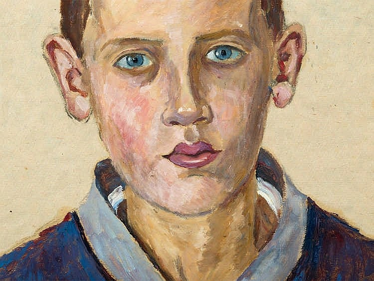 Louise Wagner, Oil Sketch, Young Man, Germany, Presumably 1920s