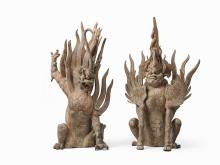 An impressive pair of guardian earth spirits, Tang Dynasty