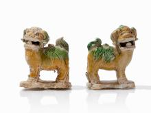 A pair of 'shipwreck' lion dogs, Qing Dynasty, Kangxi period
