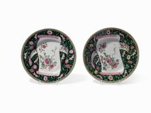 A pair of Chinese 'famille noire' dishes, circa 1740