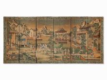 A Chinese export wallpaper screen, Qianlong period, circa 1780