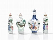 4 Porcelain Snuff Bottles with Polychrome Paint, 20th C.