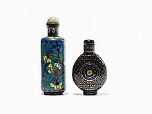 2 Snuff Bottle, Cloisonné and Lacquer, 19th/20th C.