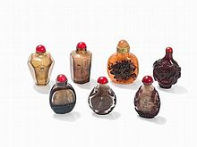 7 Glas Snuff Bottles, Interior painting or Cameo Glass, 20th C.