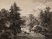 """Georg Busse, Engraving """"Mountainous Landscape"""", early 19th C"""
