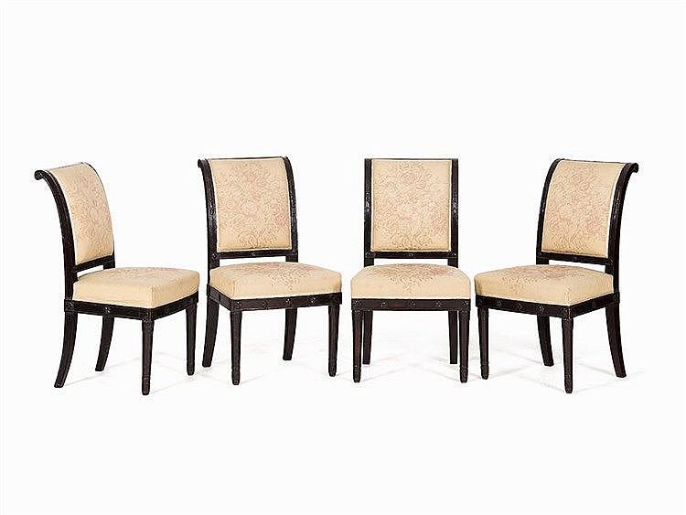 Four Consulat Salon Chairs Mahogany Paris C 1800 1815
