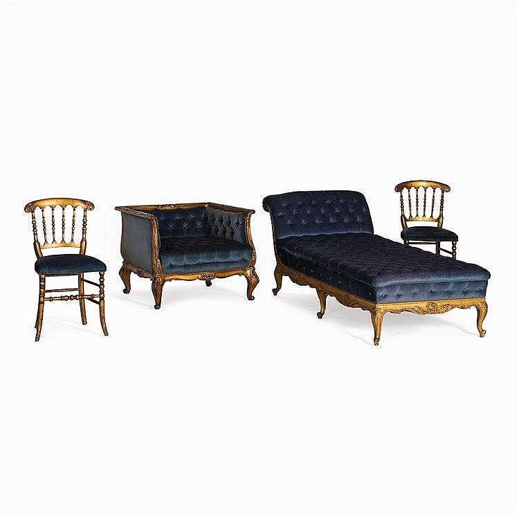 Chaise longue with armchairs and two chairs france 1890 for Chaise longue france