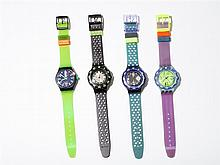 Four athletic Swiss Swatch watches for the globetrotter, 1992