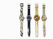 Four Swatch Wristwatches, Switzerland, c. 1990