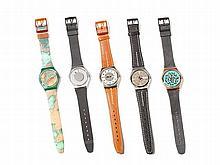 Five Swatch Watches in Cool Designs, Switzerland, 1988