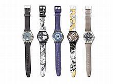 Five beautiful Swatch watches, Switzerland, 1992