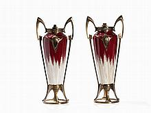 Art Nouveau, A Pair of Vases wit Brass Mouting, c. 1900