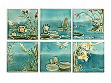 Villeroy & Boch, Six Ceramic Wall Tiles, Mettlach, around 1910