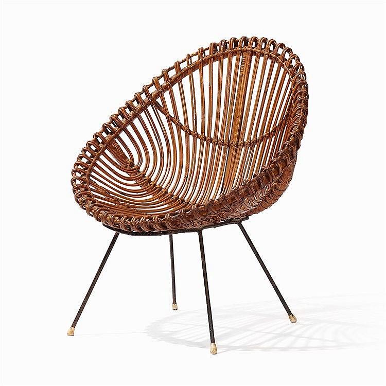 Rattan Chair Metal Legs: Ovoid Shaped Rattan Chair On 4 Metal Legs, 1970's
