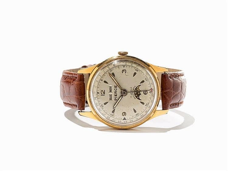Pierce Full Calendar Wristwatch, Switzerland, Around 1950