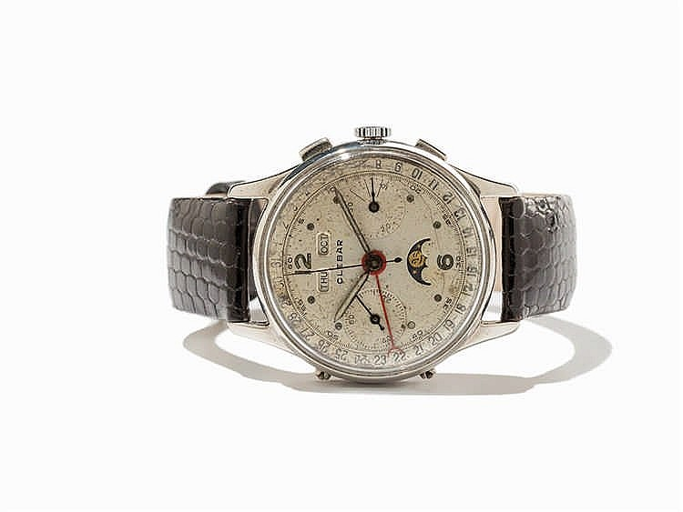Clebar Full Calendar Chronograph, Switzerland, Around 1950