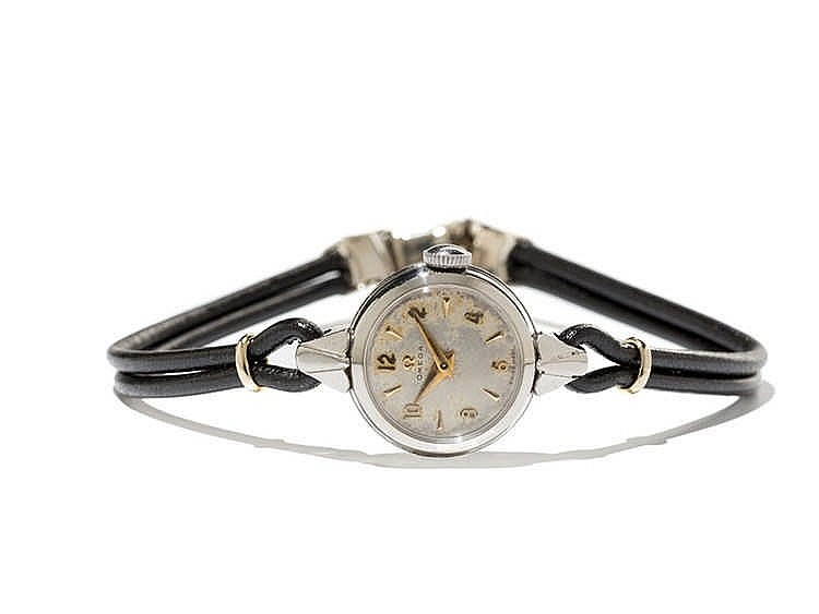 Omega Ladies Wristwatch wt. Leather Strings, Switzerland, 1950s