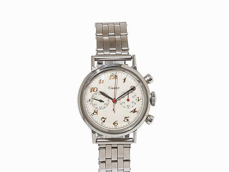 Movado Chronograph, Signed Cartier, Switzerland, c. 1955