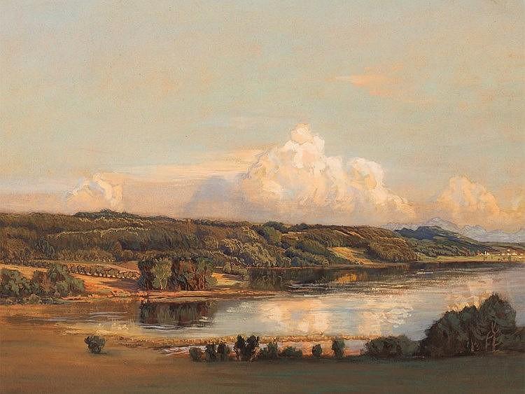 Helene Funke (1869-1957), Gouache, Lake Landscape, 1904