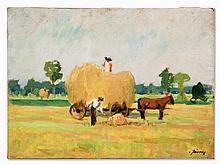 Carl Jörres, Painting, Two Peasants at the Hay Harvest, c. 1935