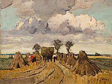 Carl Jörres, Oil Painting, Harvest, Worpswede, c. 1929