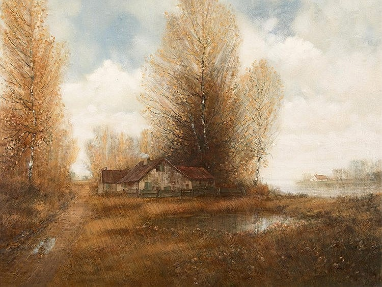 "Wolfgang Kaiser ""Autumn Moor Landscape"", Painting late 20th C"