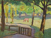 Carl Jörres, Oil Painting, Grazing Horse, Lilienthal, c. 1925