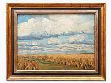 Carl Jörres, Oil Painting, Grain Stacks under Broad Sky, 1930s