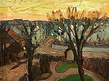 Carl Jörres, Oil Painting, Lilienthal at Dusk, Germany, c. 1928