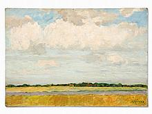 Carl Jörres, Oil Painting, Riverscape with Cloudy Sky, c. 1931