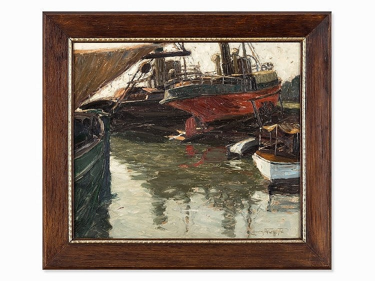 Paul Lehmann-Brauns (1885-1970), Hamburg Harbor Scene, 1930