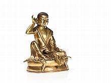 Gilded Bronze of the Sitting Yogi Milarepa, Tibet, 19th Century