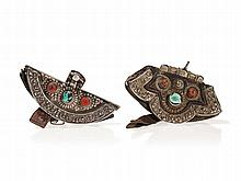 Two Leather Belt Pouches with Turquoises and Corals, 19th C