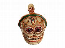 Coloured Chitipati Cham Dance Mask, Tibet, 20th Century