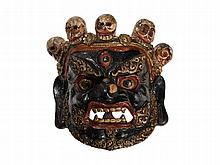 Hand-painted 'Dharmapala' Cham Dance Mask, Tibet, 19th / 20th C