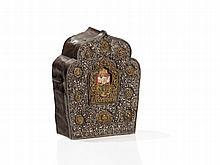 Tibetan Amulet Box Gau with Chased Front, around 1900