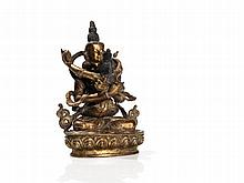Gilded Bronze of Vajradhara and Prajnaparamita, 20th C