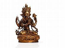 Gilded Bodhisattva Lokeśvara Bronze, Tibet, 20th C