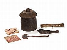 Medical Utensils and a Wooden Medical Jar, Tibet, 19th C
