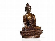 Bronze Figure of a Medicine Buddha in Padmâsana, Tibet, 20th C