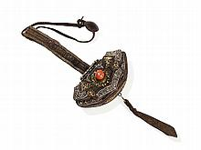Yak Leather Belt Pouch with Coral in the Center, 19th Century