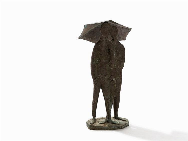 Marino Amaya, Couple Under An Umbrella, Bronze, Spain, 1992