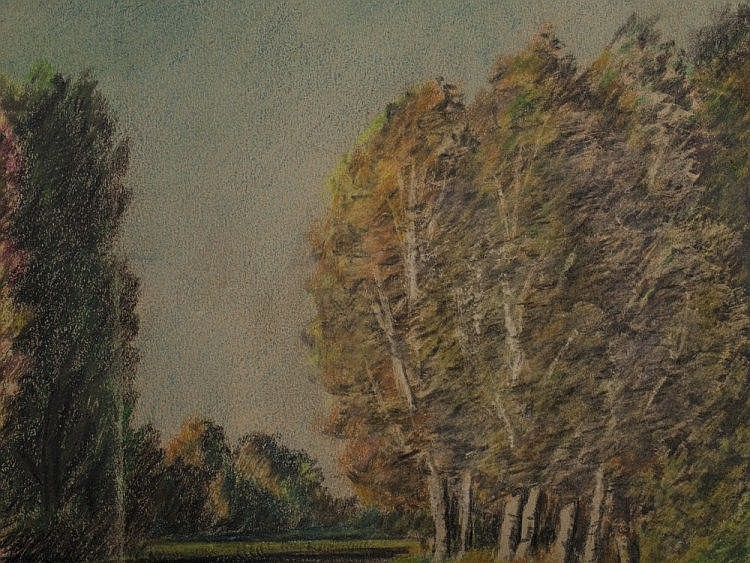 Wax crayon drawing river landscape by j willroider 1912 for Wax landscape
