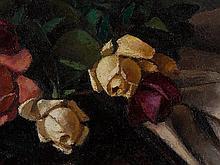 Emil Beischläger (1897-1977), Oil Painting 'Rosen', Mid 20th C